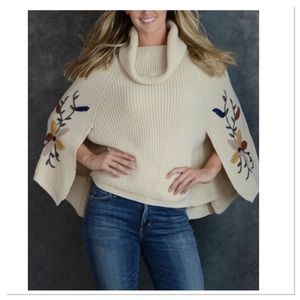 Beige Embroidered Cape Sweater